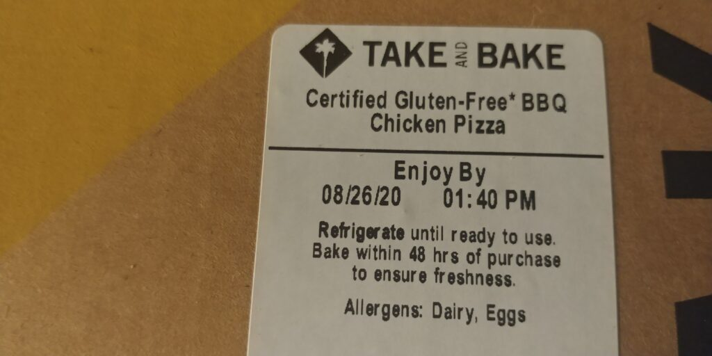 take and bake gluten free bbq pizza