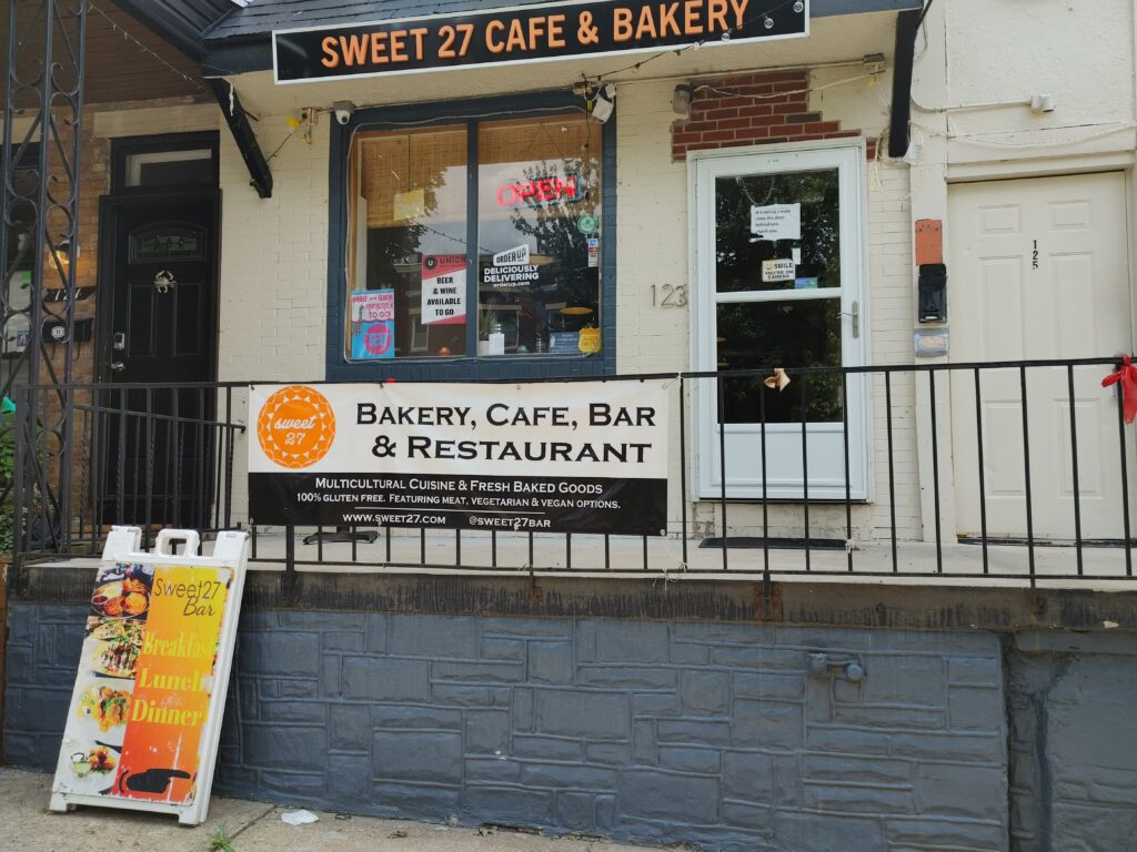 Sweet 27 Cafe and Bakery entrance