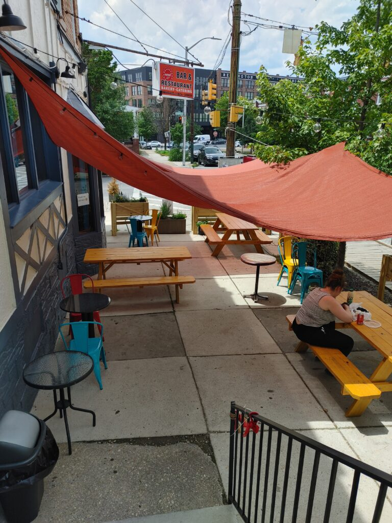 Outside cafe seating